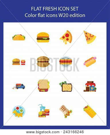 Icon Set Of Fast Food. Meal Catering, Unhealthy Eating, Junk Food. Food Concept. For Topics Like Del