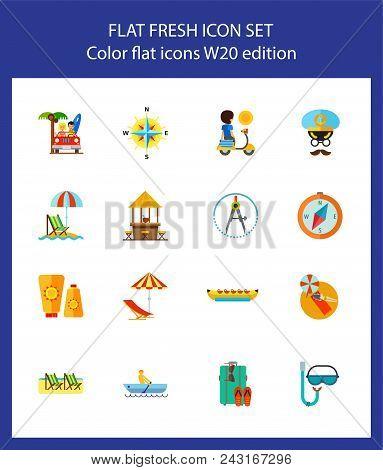 Icon Set Of Summer Resort Symbols. Vacation, Beach, Tropical Resort. Seaside Concept. For Topics Lik