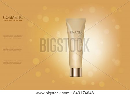 Skin Toner Ads Template, Golden Glass Bottle Mockup For Ads Or Magazine, Cosmetic Product Poster, Bo