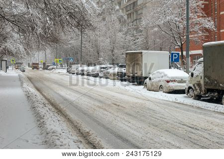 Moscow, Feb. 04, 2018: Winter View On Cars Under Snow. Snow Covered The Cars And They Can Not Move.