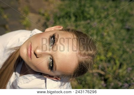 Girl Powered. Issues Face Girls. Girl With Makeup On Young Face Skin, Top View. Beauty Woman With Fr