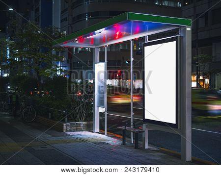 Bus Shelter Billboard Banner Template  Media Advertising Outdoor Street Sign Display At Night