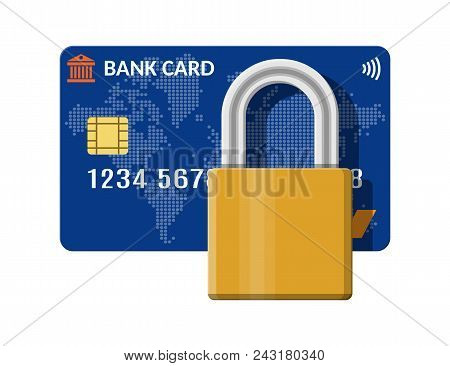 Bank Or Credit Card With Pad Lock. Safe Payment System With Chip. Padlock And Plastic Card. Safety P