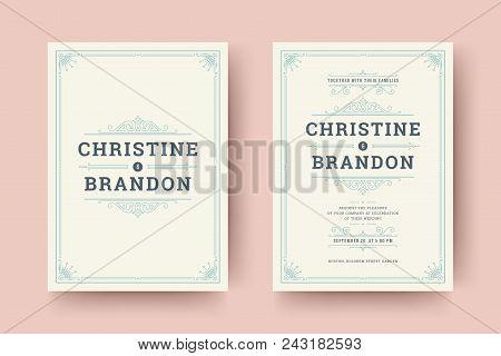 Wedding Save The Date Invitation Cards Flourishes Ornaments. Wedding Invite Title Design. Vintage Vi