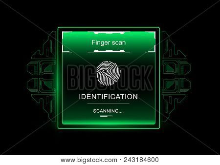 Finger Scan In Futuristic Style. Biometric Id With Futuristic Hud Interface. Fingerprint Scanning Te