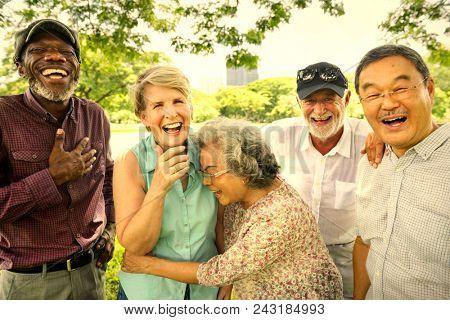 Senior friends having fun at the park