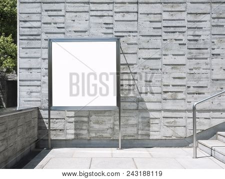 Blank Signage Mock Up Board Poster Media Outdoor Building Concrete Wall
