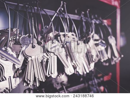 Locksmith Key Shop Business Service Various Key Chains In Bunches