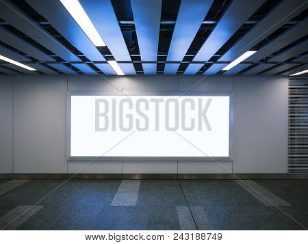 Mock Up Banner Signage  Display Modern Building Interior With Lighting