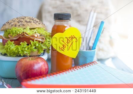 Sandwich For School Lunch And Juice, Healthy Lunch. School Books On The Table. Copy Space
