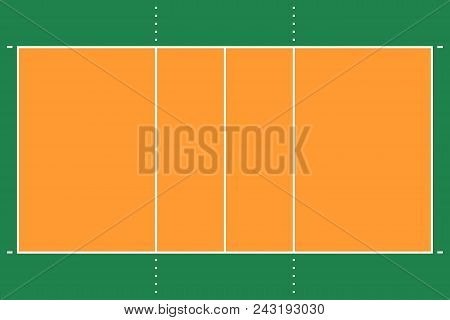Flat Volleyball Gym. Volleyball Field With Line Template. Vector Stadium.. Abstract Illustration Eps