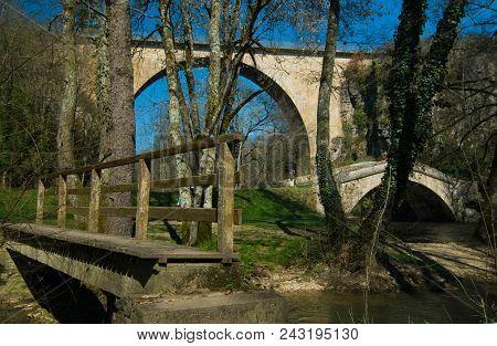 Crossings From The Past: Three Bridges: Two Walking Bridges & A Driving Bridge, Burgundy, France