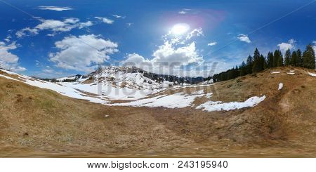 Beautiful Switzerland mountains landscape at April. 360 vr