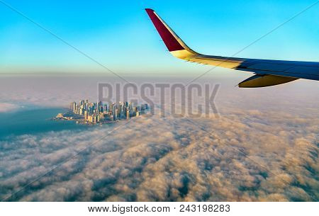 Flying Above Doha, The Capital Of Qatar, The Persian Gulf