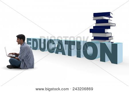 Young man in telelearning concept with laptop and books