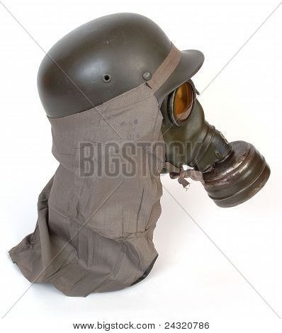 WWII German gas mask and helmet