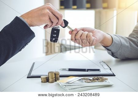 Salesman Send Key To Customer After Good Deal Agreement, Successful Car Loan Contract Buying Or Sell