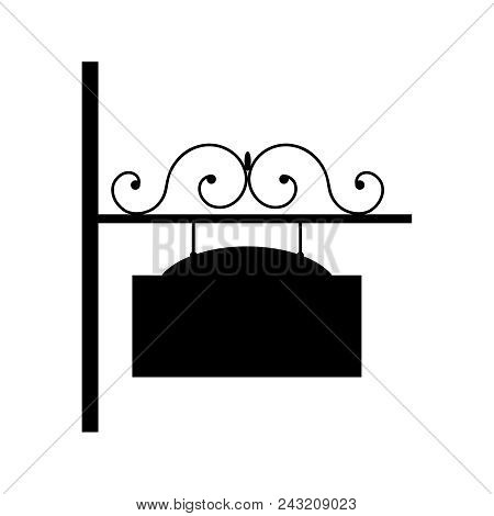 Vector Illustration Of Black Wrought Iron Sign.