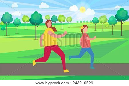 Mother And Daughter Jogging In Park Filled With Lush Trees Vector Illustration. Morning Jogger Enjoy