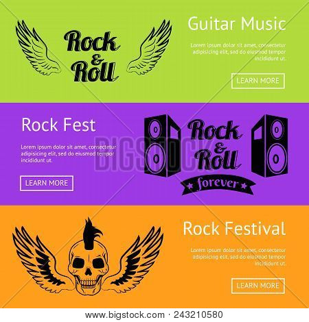 Rock Music Collection Of Creative Colorful Posters. Vector Illustration Of Two Big Loudspeaker, Pair