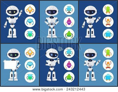 Robots Of Modern Type Set Collection Of Robots Waving And Standing With Sheet Of Paper Icons With Hu