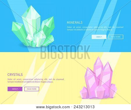 Minerals Crystals Web Posters Online Push Buttons, Green Pink Precious Realistic Minerals And Transp