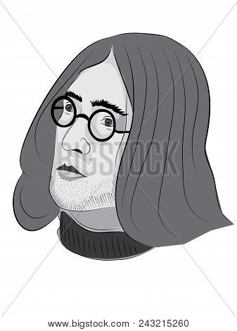 May 31 2018: Colored Portrait Illustration Of John Lennon With Long Hair With Glasses, Editorial Use