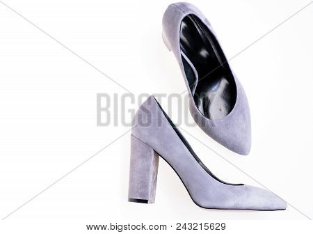 Comfortable High Heels Concept. Pair Of Fashionable High Heeled Shoes. Shoes Made Out Of Grey Suede