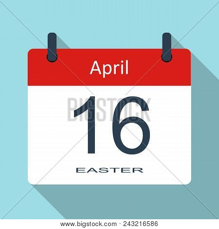 Happy Easter Day. April 16th. Vector Flat Daily Calendar Icon. Vector Illustration..