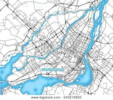 Map Of The Island Of Montreal, Canada With The Largest Highways, Roads And Surrounding Islands And I