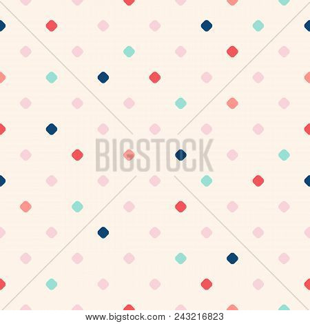 Retro Vintage Polka Dot Seamless Pattern. Vector Texture With Small Scattered Colorful Dots On Beige