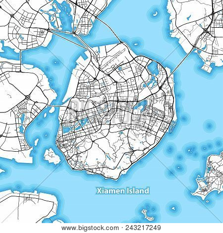 Map Of Xiamen Island, China With The Largest Highways, Roads And Surrounding Islands And Islets