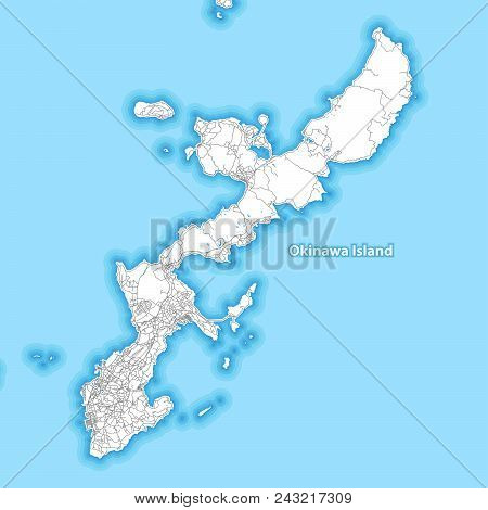 Map Of Okinawa Island, Japan With The Largest Highways, Roads And Surrounding Islands And Islets