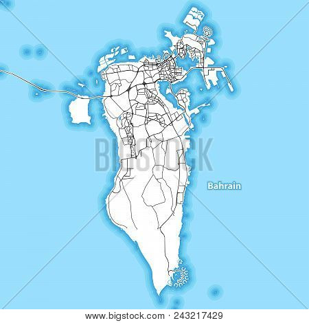 Two-toned Map Of The Island Of Bahrain With The Largest Highways, Roads And Surrounding Islands And
