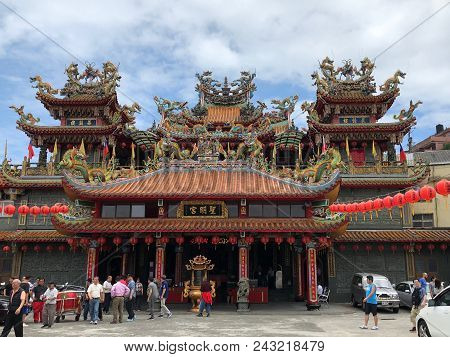 Jioufen, Taiwan - May 2018: People Celebrating Buddha`s Birthday At The Buddhist Temple In Jioufen,
