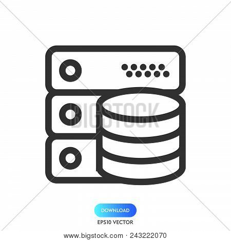 Data Server Icon Simple Vector Sign And Modern Symbol. Data Server Vector Icon Illustration, Editabl