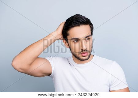 Portrait Of Manly Stunning Man In White Outfit Touching Fixing Correcting His Perfect Smooth Healthy