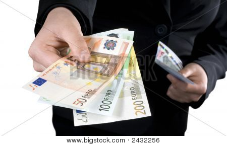 Hand Giving Euro Banknotes Money