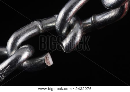 Cut Chain Link On Black