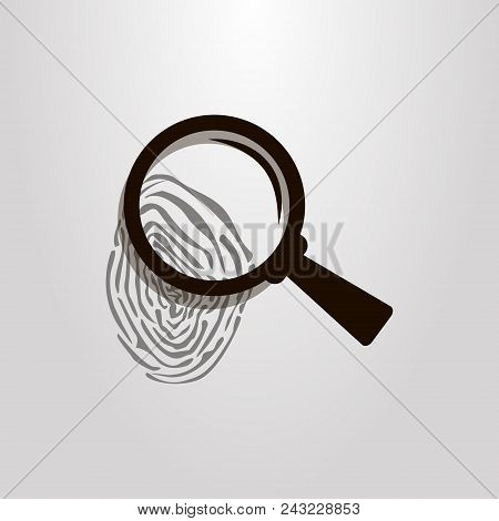 Black And White  Vector Magnifying Glass Over A Fingerprint Icon
