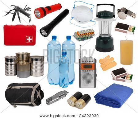 Objects useful in an emergency situation isolated on white