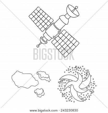 Space Technology Outline Icons In Set Collection For Design.spacecraft And Equipment Vector Symbol S