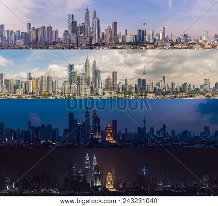 Morning Afternoon Evening Night. Four Time Of Day. Kuala Lumpur Skyline, View Of The City, Skyscrape