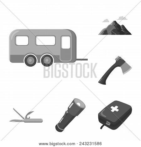 Rest In The Camping Monochrome Icons In Set Collection For Design. Camping And Equipment Vector Symb