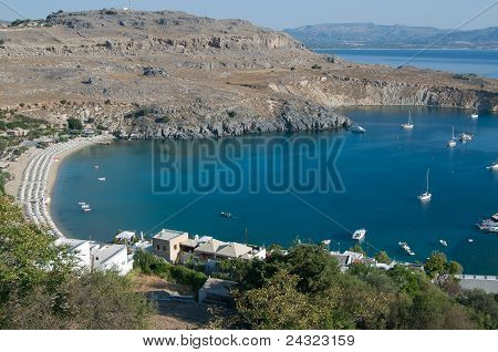 Lindos bay from the top