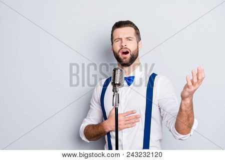 Portrait Of Talented Attractive Singer With Bristle Stubble In Elegant Classic Outfit, Singing Hit W