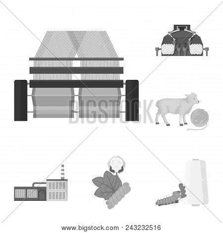 Textile Industry Monochrome Icons In Set Collection For Design.textile Equipment And Fabrics Vector