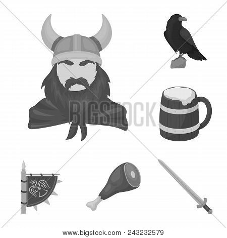 Vikings And Attributes Monochrome Icons In Set Collection For Design.old Norse Warrior Vector Symbol