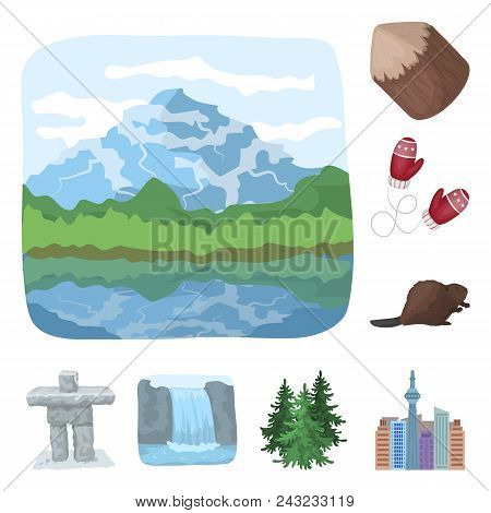 Country Canada Cartoon Icons In Set Collection For Design. Canada And Landmark Vector Symbol Stock