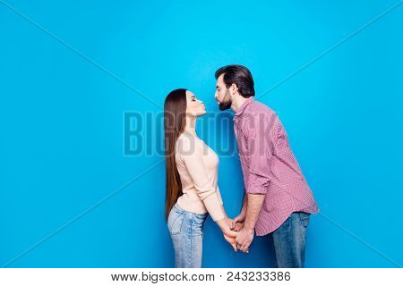 Kiss You Baby! Profile Portrait Of Attractive Trendy Couple In Casual Outfits Jeans, Keeping Eyes Cl
